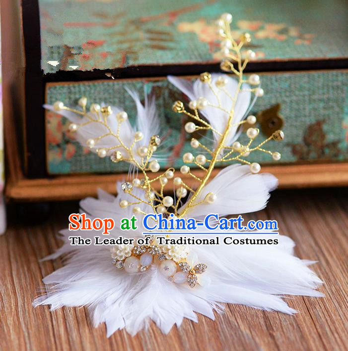 Traditional Jewelry Accessories, Princess Wedding Hair Accessories, Bride Wedding Hair Accessories, Headband, Baroco Style Handmade Feather Hair Claw for Women
