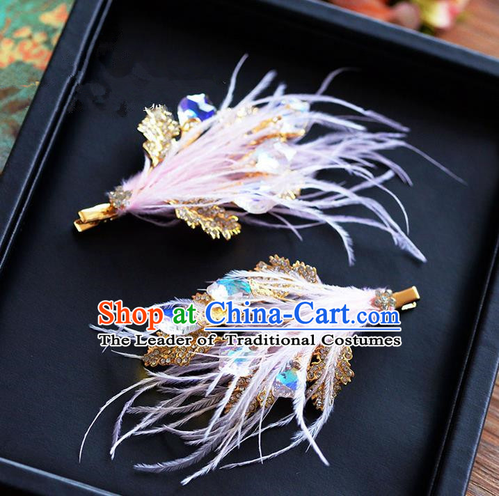 Traditional Jewelry Accessories, Princess Wedding Hair Accessories, Bride Wedding Hair Accessories, Headband, Baroco Style Handmade Crystal Feather Hair Claw for Women