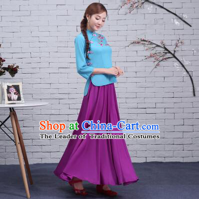 Chinese Min Guo Time Dress Girl Traditional Clothes Female Women Clothing Stage Costumes Show