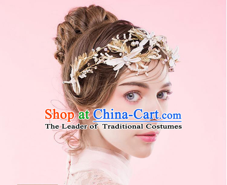 Traditional Jewelry Accessories, Princess Wedding Hair Accessories, Bride Wedding Hair Accessories, Headband, Baroco Style Handmade Crystal Pearl Dragonfly Hair Claw for Women