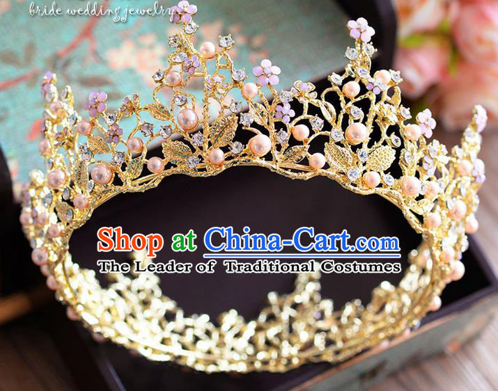Traditional Jewelry Accessories, Palace Queen Bride Royal Crown, Engagement Retro Royal Crown, Wedding Hair Accessories, Baroco Style Crystal Headwear for Women