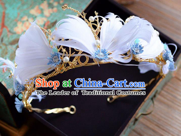 Traditional Jewelry Accessories, Palace Queen Bride Royal Crown, Engagement Retro Royal Crown, Wedding Hair Accessories, Baroco Style Pearl Feather Headwear for Women