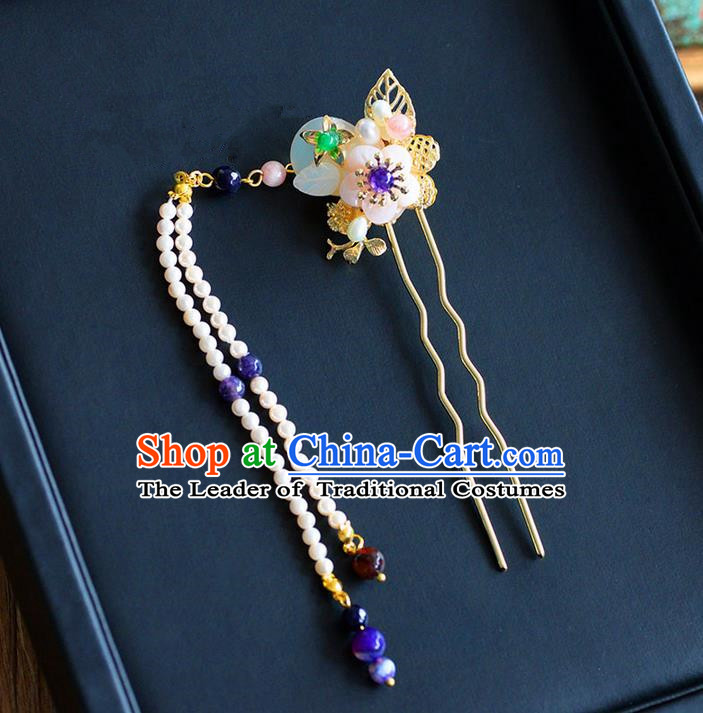 Chinese Ancient Style Hair Jewelry Accessories, Hairpins, Hanfu Xiuhe Suits Wedding Bride Headwear, Headdress, Imperial Empress Handmade Pearl Hair Fascinators for Women