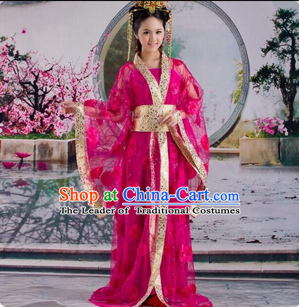 Tang Suit Princess Chinese Traditional Costumes Classic Fairy Stage Show Clothes Ros Red
