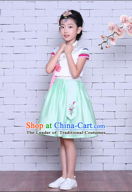 Korean Children Dress Traditional Girl Clothes Princess Stage Show Costumes Kids Formal Attire Dancing White Top Green Skirt