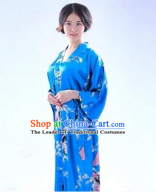 Japanese Traditional Kimono Costumes Women Dress COSPLAY Japanese Traditional Garment Wedding Dress Ceremonial Wafuku Stage Show Aristolochia ringens Light Blue