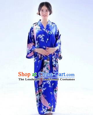 Japanese Traditional Kimono Costumes Women Dress COSPLAY Japanese Traditional Garment Wedding Dress Ceremonial Wafuku Stage Show Aristolochia ringens Dark Blue