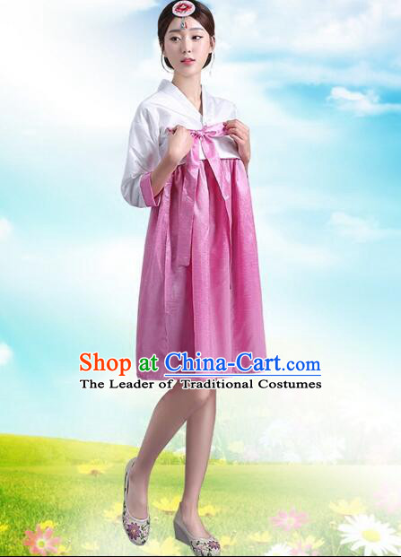 Korean Traditional Dress Women Costumes Bride Dress Clothes Korean Full Dress Formal Attire Ceremonial Dress Court Stage Dancing Whie Top Pink Skirt