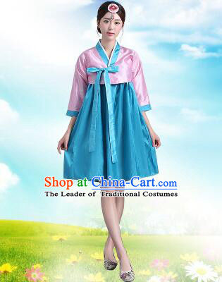 Korean Traditional Dress Women Costumes Bride Dress Clothes Korean Full Dress Formal Attire Ceremonial Dress Court Stage Dancing Pink Top Blue Skirt