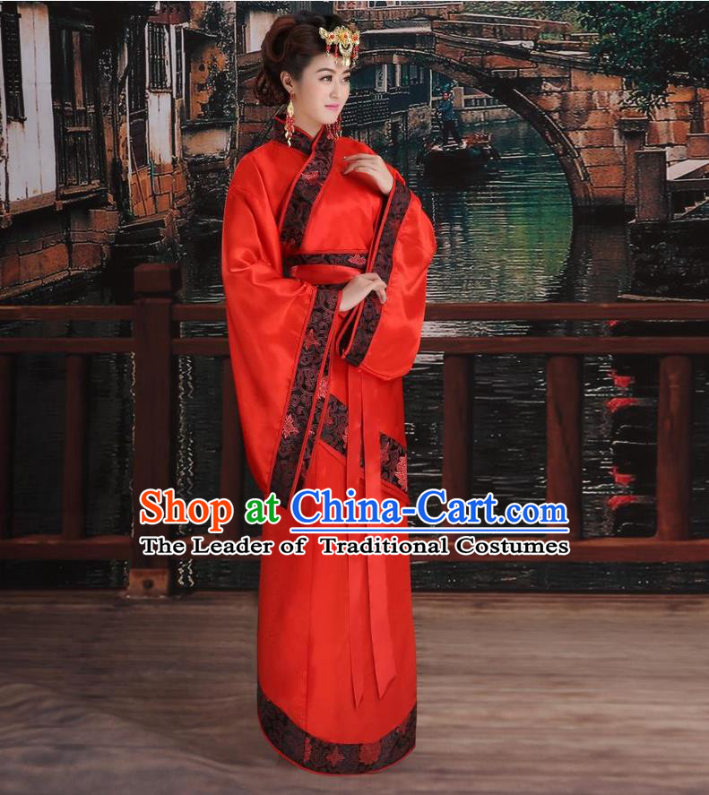 Ancient Chinese Palace Empress Costumes Complete Set, Han Dynasty Ancient Palace Princess Dance Wedding Clothing, Hanfu Curving Front Robe, Cosplay Fairy Imperial Consort Dress Suits For Women