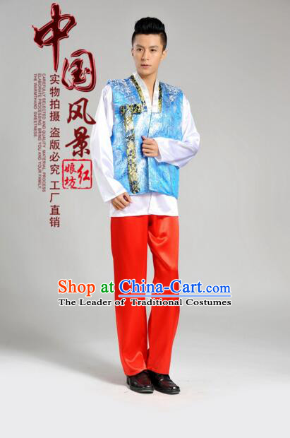 Korean Traditional Formal Dress Set Men Clothes Traditional Korean Traditional Costumes Full Dress Formal Attire Ceremonial Dress Court Blue Top Red Pants