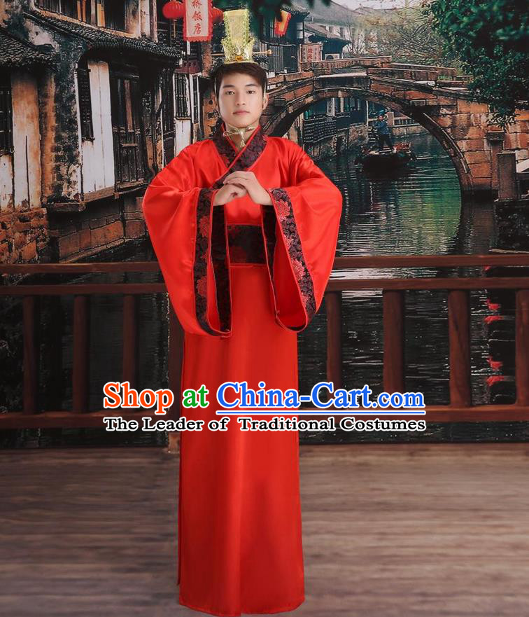 Ancient Chinese Palace Emperor Costumes Complete Set, Han Dynasty Ancient Palace Majesty Clothing, Imperial King Robe Suits for Men