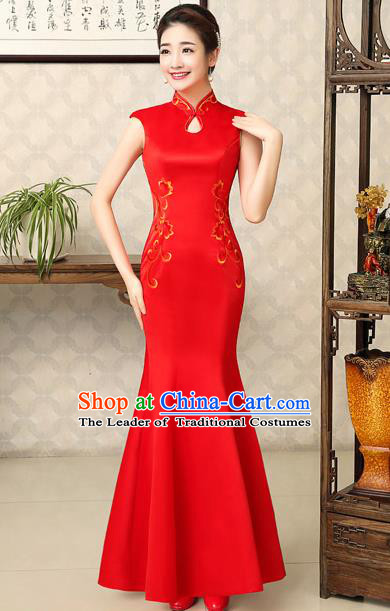 Ancient Chinese Costumes, Manchu Clothing Qipao, Retro Silk Mandarin Collar Cheongsam, Traditional Red Fish Tail Cheongsam Wedding Toast Dress for Bride