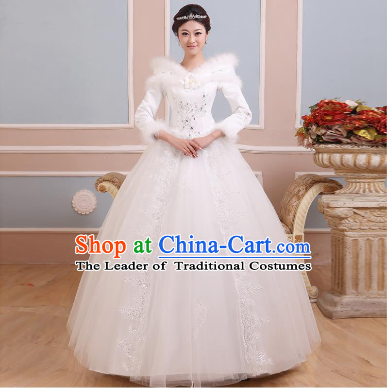 Traditional Chinese Bride Strapless Wedding Dress, Floor Length Wedding Dress for Women