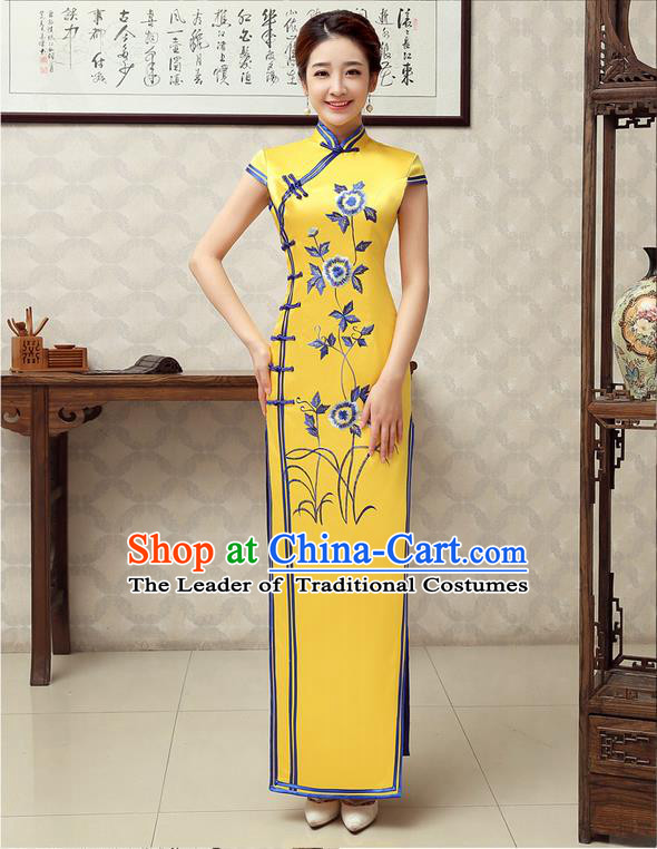 Ancient Chinese Costumes, Manchu Clothing Qipao, Improved Mandarin Collar Embroidered Silk Long Cheongsam, Traditional Cheongsam Wedding Toast Dress for Bride