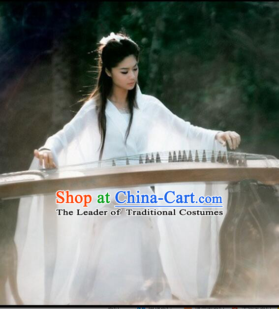 Chinese Classical Xiao Long Nv Costumes Complete The Return of the Condor Heroes Set Han Fu Stage Show Chiffon Dress White