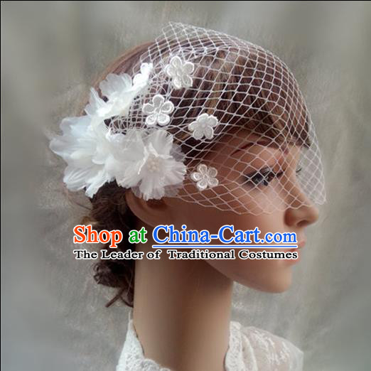 Chinese Wedding Jewelry Accessories, Traditional Bride Headwear, Wedding Tiaras, bridal Wedding Lace Veil Hair Clasp