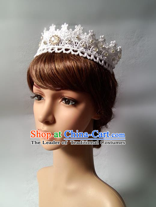 Chinese Wedding Jewelry Accessories, Traditional Bride Headwear, Wedding Tiaras, Imperial Bridal Wedding Lace Royal Crown Hair Clasp