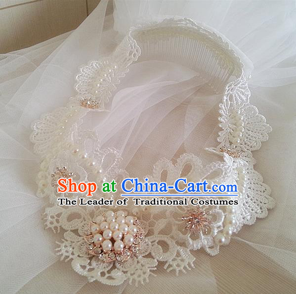 Chinese Wedding Jewelry Accessories, Traditional Bride Headwear, Wedding Tiaras, Imperial Bridal Baroco Style Wedding Lace Veil Hair Clasp