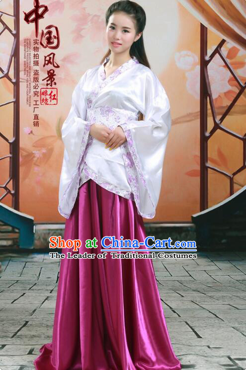 Tang Suit Women Han Fu curving-front Chinese Ancient Costume Stage Ceremonial Clothes Purple