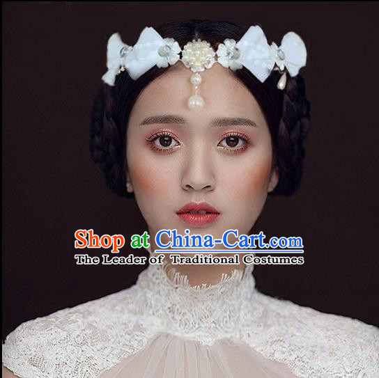 Chinese Wedding Jewelry Accessories, Traditional Bride Headwear, Wedding Tiaras, Imperial Bridal Baroco Style Wedding Lace Tassels Pearl Hair Clasp