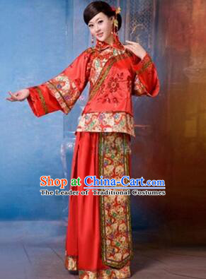 Traditional Chinese Women Dress Bride Clothes Wedding Long Dress Evening Dresses