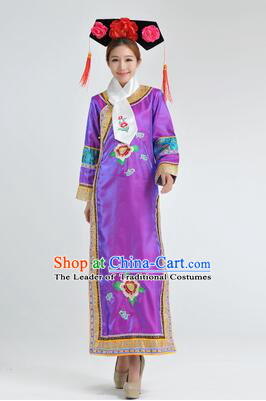Qipao Qing Dynasty Clothing Empresses in the Palace Qing Chuang Stage Costumes Purple