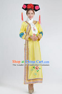 Qipao Qing Dynasty Clothing Empresses in the Palace Qing Chuang Stage Costumes Yellow