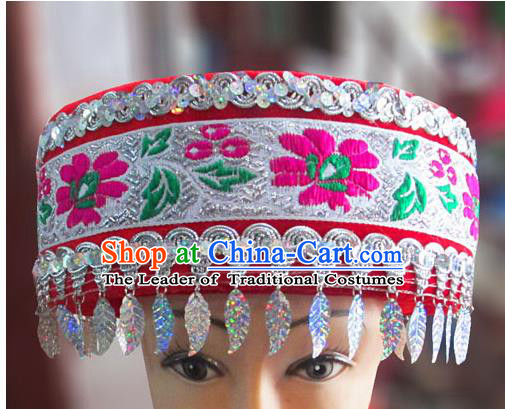 Chinese Traditional Miao Minority Hmong Folk Ethnic Hat, Tujia Minority Embroidery Hat for Women