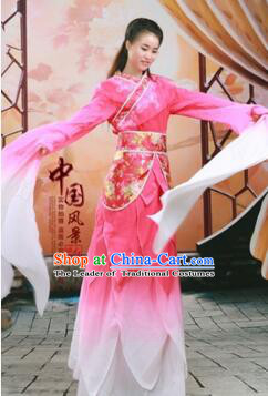 Chinese Traditional Costume Empresses in the Palace Water Sleeves Qi Xian nv Dancing Clothes Jing Hong Rose Red