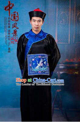 Qing Dynasty Men Costume Official Clothes Imperial Palace Royal Family Member Chieftain Clothing and Hat Black
