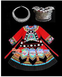 Traditional Chinese Miao Nationality Dancing Costume Accessories Set, Children Folk Dance Ethnic Cloth and Headwear, Chinese Tujia Minority Nationality Dancing Costume and Hat for Kids