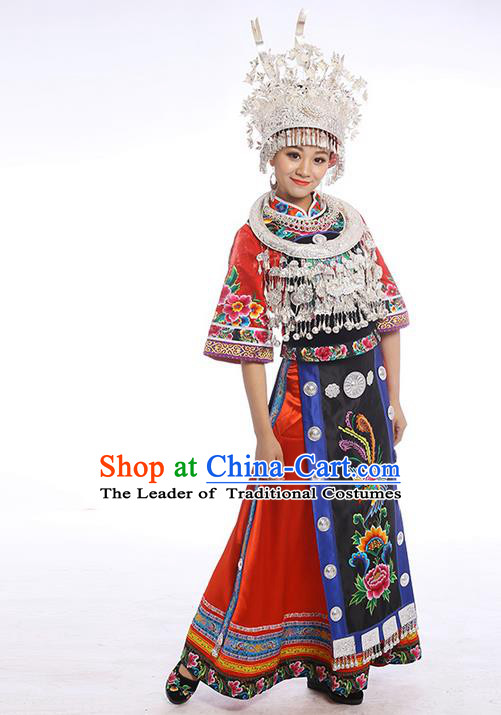 Traditional Chinese Miao Nationality Dancing Costume Accessories Necklace, Female Folk Dance Ethnic Cloth and Headwear, Chinese Minority Nationality Embroidery Costume and Hat for Women