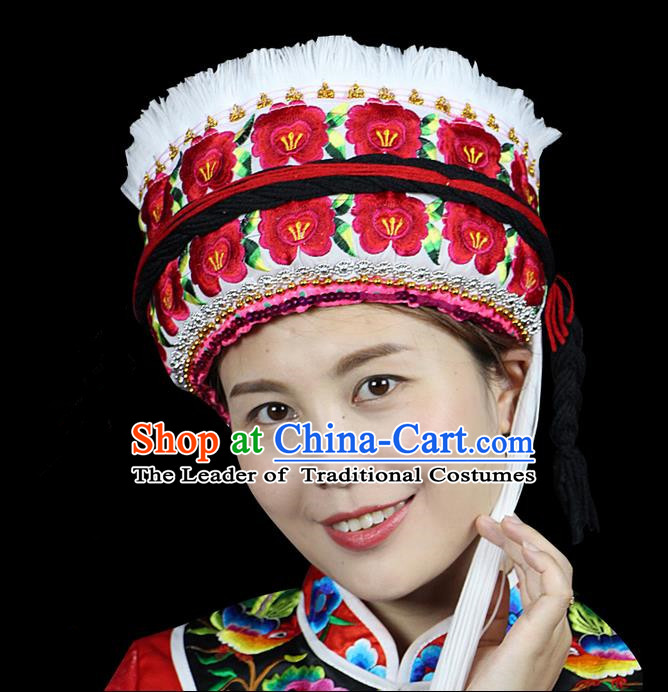 Chinese Traditional Bai Minority Hmong Folk Ethnic Hat, Bai Ethnic Embroidery Flowers Hat for Women