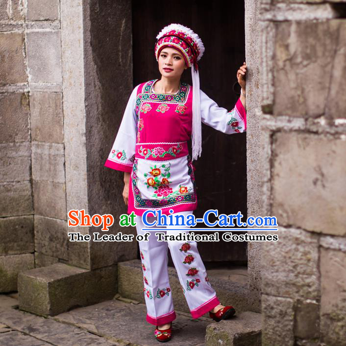 Traditional Chinese Bai Nationality Dancing Costume Set, Female Folk Dance Bai Ethnic Clothes and Hat, Chinese Minority Nationality Embroidery Costume for Women