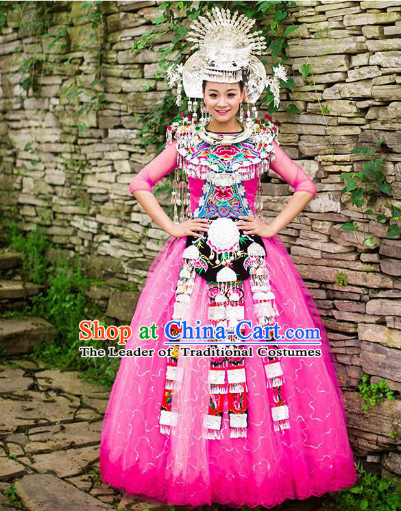 Traditional Chinese Miao Nationality Wedding Costume Accessories Crown, Necklace, Hmong Female Wedding Ethnic Pleated Dress and Phoenix Silver Headwear, Chinese Minority Nationality Embroidery Costume and Hat for Women