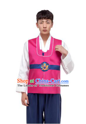 Korean Traditional Formal Dress Set Men Clothes Traditional Korean Traditional Costumes Full Dress Formal Attire Ceremonial Dress Court Rose Red Top
