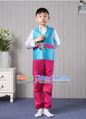 Korean Traditional Dress for Children Boy Clothes Kid Costumes Stage Show Dancing Blue Top Red Pants