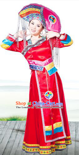 Traditional Chinese Miao Nationality Dancing Costume, Hmong Female Folk Dance Ethnic Pleated Skirt and Headwear, Chinese Minority Nationality Embroidery Costume and Hat for Women