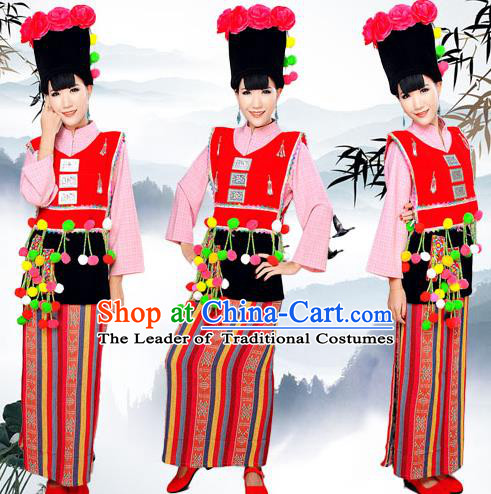Traditional Chinese Achang Nationality Dancing Costume, Achangzu Female Folk Dance Ethnic Pleated Skirt, Chinese Achang Minority Nationality Embroidery Costume for Women