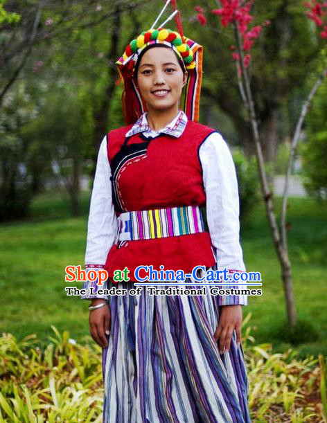 Traditional Chinese Nu Nationality Dancing Costume, Nuzu Female Folk Dance Ethnic Pleated Skirt, Chinese Nu Minority Nationality Embroidery Costume for Women