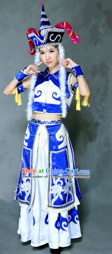 Traditional Chinese Mongol Nationality Dancing Costume, Mongolian Female Folk Dance Ethnic Pleated Skirt, Chinese Mongols Minority Nationality Embroidery Costume for Women
