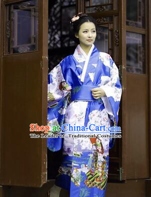 Japanese Traditional Costumes Kimono Tomesode Stage Show Wafuku Aristolochia ringens Tomesode Full Dress Blue