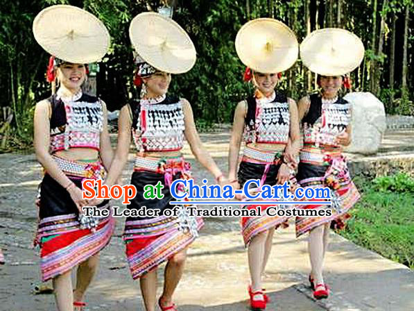 Traditional Chinese Dai Nationality Dancing Costume, Folk Dance Ethnic Costume, Chinese Minority Nationality Dancing Costume for Women