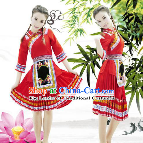 Traditional Chinese Tujia Nationality Dancing Costume, Tujiazu Female Folk Dance Ethnic Pleated Skirt, Chinese Tujia Minority Nationality Embroidery Costume for Women