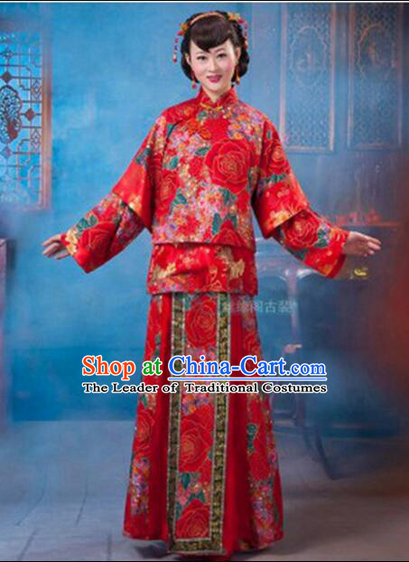 Chinese Wedding Dress Bride Full Attire Traditional Costumes Ancient Women Dress Complete Set