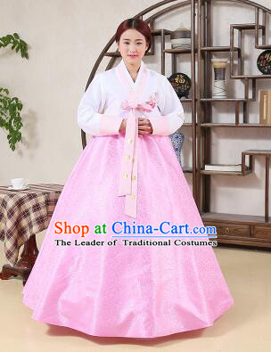 Korean Traditional Dress Korean Style Women Girl costume Dancing Show Full Attire Formal Clothes Pink