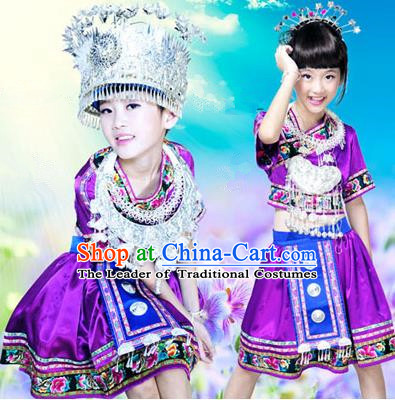 Traditional Chinese Miao Nationality Dancing Costume, Hmong Children Folk Dance Ethnic Pleated Skirt, Chinese Minority Tujia Nationality Embroidery Costume for Girls Kids