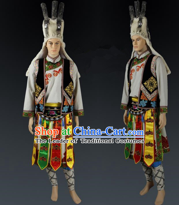 Traditional Chinese Qiang Nationality Dancing Costume, Qiangzu Male Folk Dance Ethnic Clothing, Chinese Minority Qiang Nationality Worship Ceremony Costume for Men