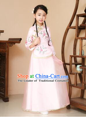 Chinese Traditional Dress for Children Girl Kid Min Guo Clothes Ancient Chinese Costume Stage Show Pink
